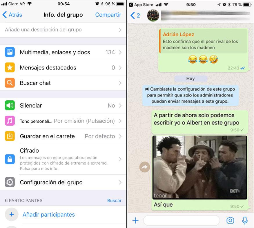 Whatsapp ahora permite controlar quién habla en un grupo de chat