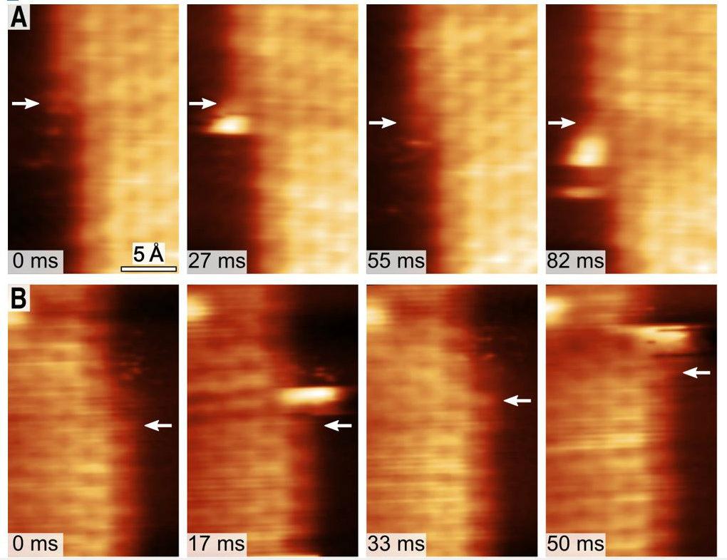 Secuencia de formación de grafeno tomadas por el microscopio de efecto túnel