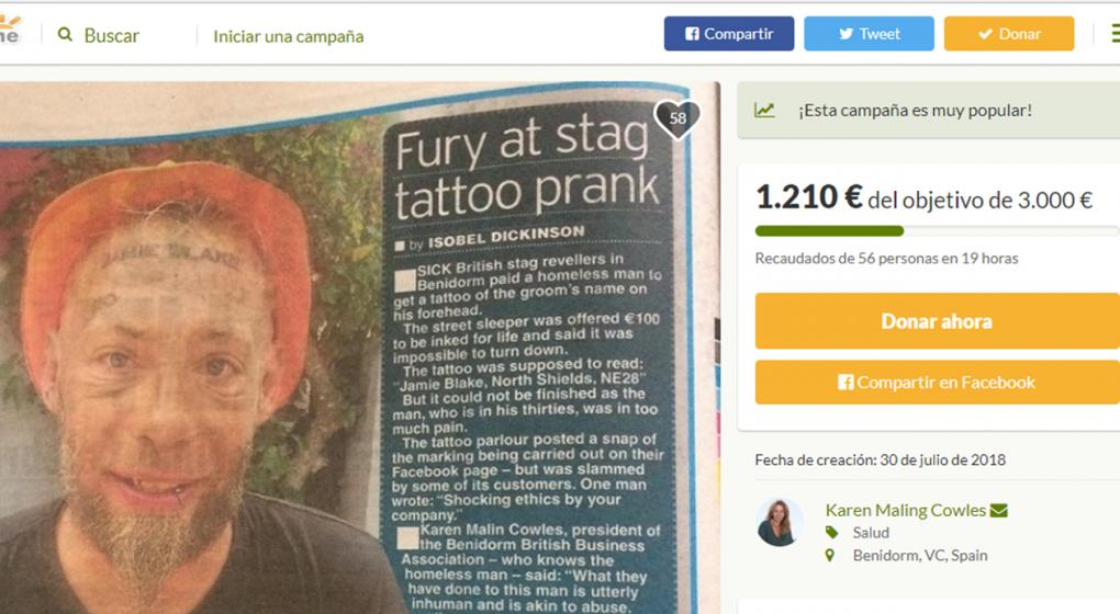 Campaña solidaria en España para borrar tatuaje a un mendigo víctima de una broma de turistas