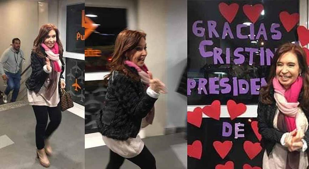 En fotos: así fue el homenaje sorpresa a Cristina en Aeroparque