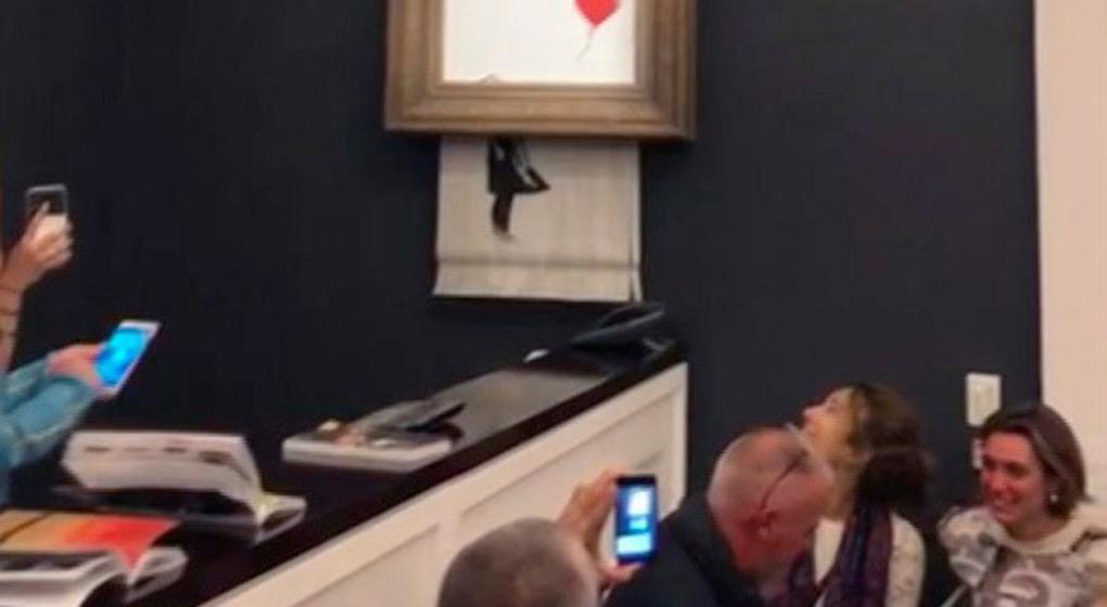 Un cuadro de Banksy se autodestruyó tras ser subastado