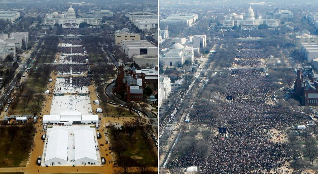 Un fotógrafo admitió que se editaron las fotos de la asunción de Trump para simular una multitud