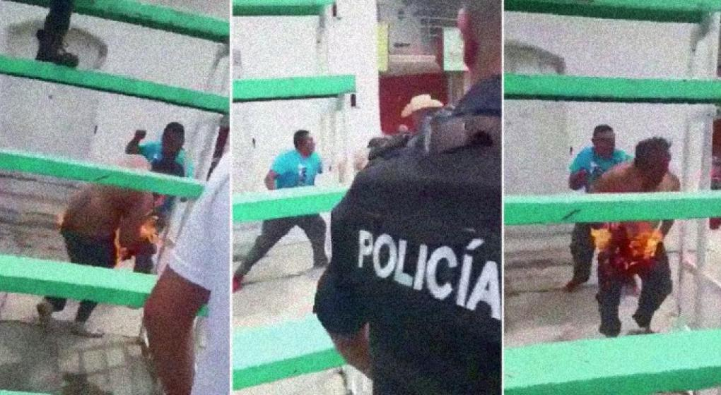 México: mataron a un policía prendiéndolo fuego porque lo acusaban de planear secuestros a niños
