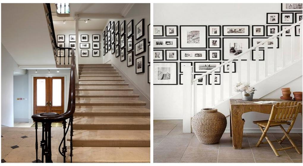 Escaleras aburridas cambiales la cara con estas ideas for Cuadros para escaleras
